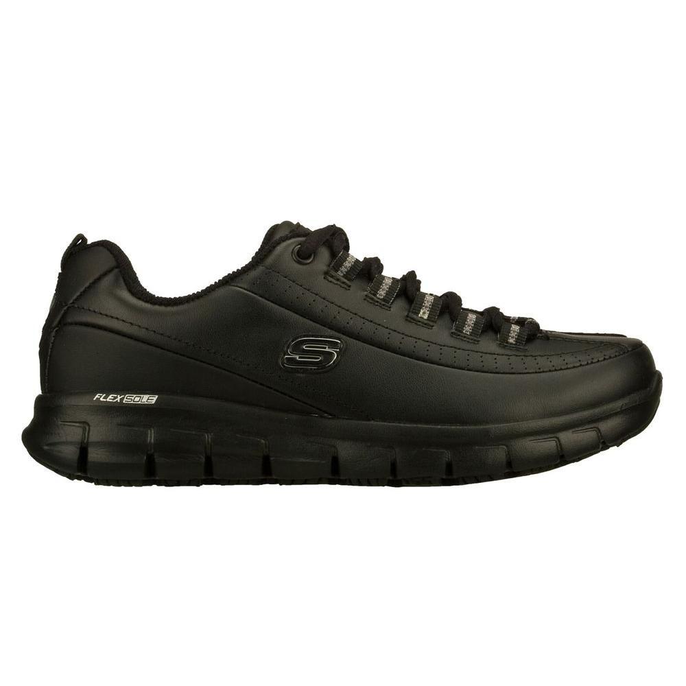 Skechers Women's Sure Track Trickel Slip Resistant Athletic Shoes Soft Toe Black Size 8.5(M)
