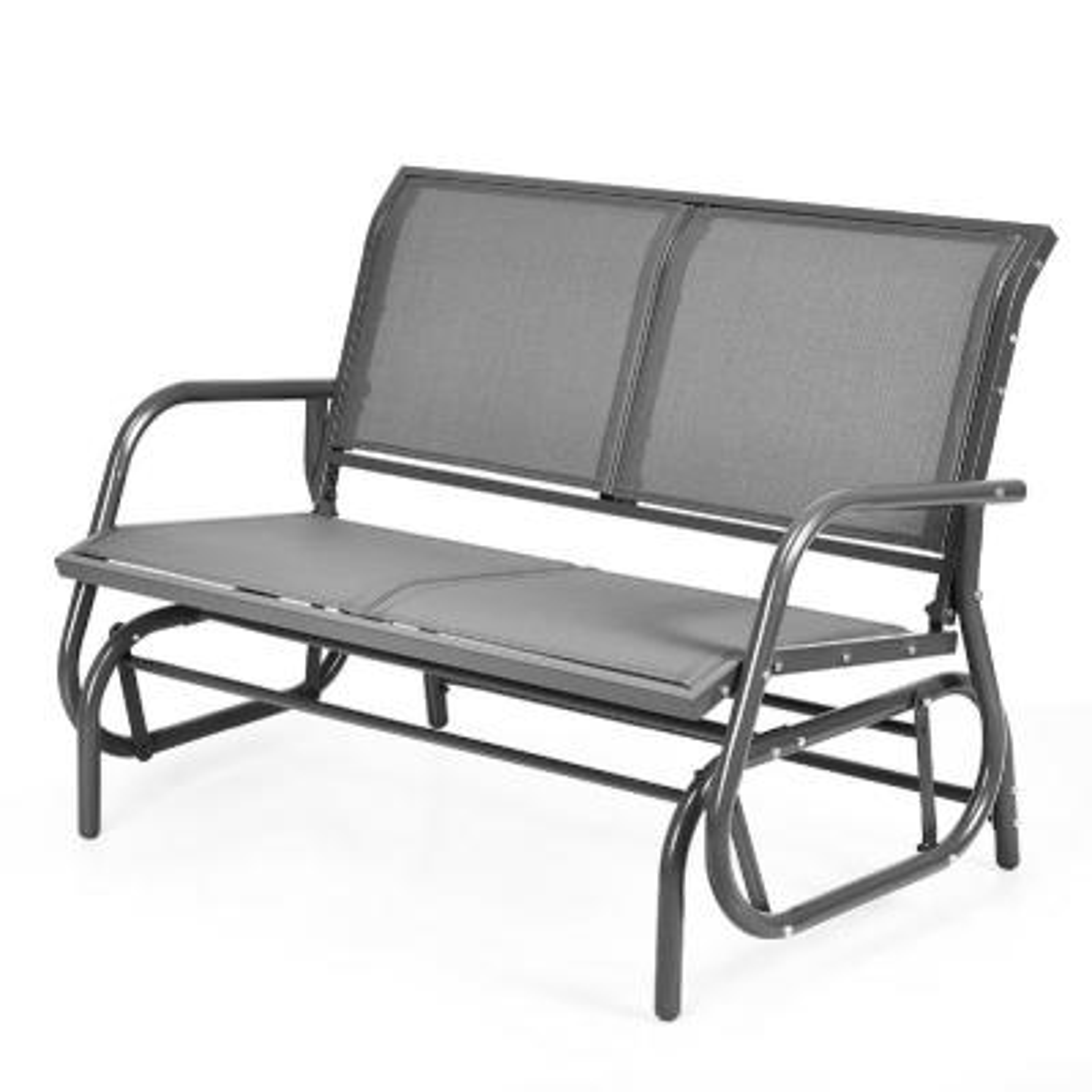 Metal Outdoor Lounge Chair Patio Swing Loveseat in Grey