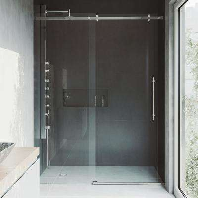 Luca 60 in. x 78 in. Frameless Fixed Shower Door with Hardware in Stainless Steel and 3/8 in. Clear Glass
