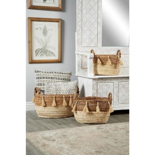 Oval Silk Wood and Banana Leaf Storage Wicker Baskets with Handles (Set of 3)