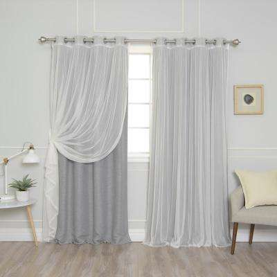 84 in. L uMIXm Grey Tulle and Cotton Slub Blackout Curtain (4-Pack)