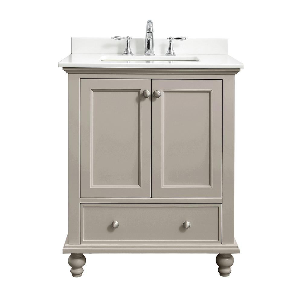Home Decorators Collection Orillia 30 in. W x 22 in. D Vanity in Greige with Marble Vanity Top in White with White Sink