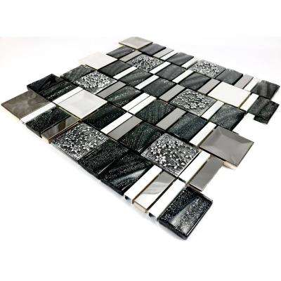 Vitray/01, Black, 4 in. x 6 in. x 8 mm Glass/Metal/ Hand Painted Ceramic Mesh-Mounted Mosaic Tile, Tile Sample