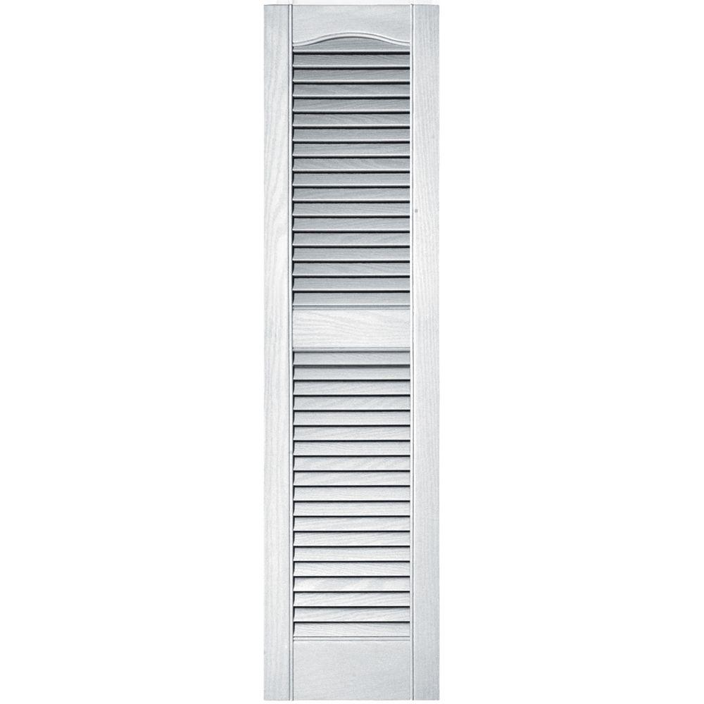 Builders Edge 12 in. x 48 in. Louvered Vinyl Exterior Shutters Pair ...