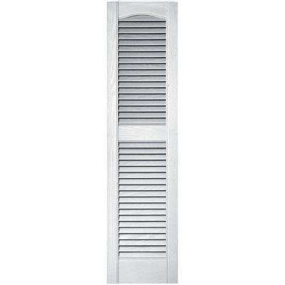 12 in. x 48 in. Louvered Vinyl Exterior Shutters Pair in #001 White