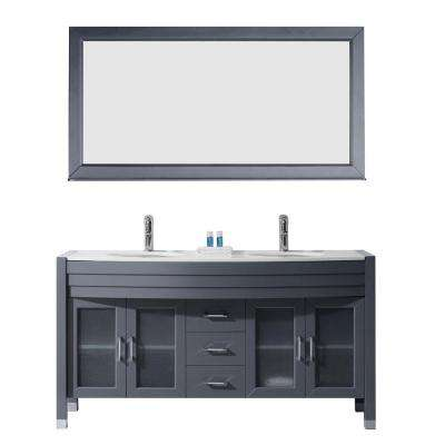 Ava 63 in. W Bath Vanity in Gray with Stone Vanity Top in White with Round Basin and Mirror and Faucet