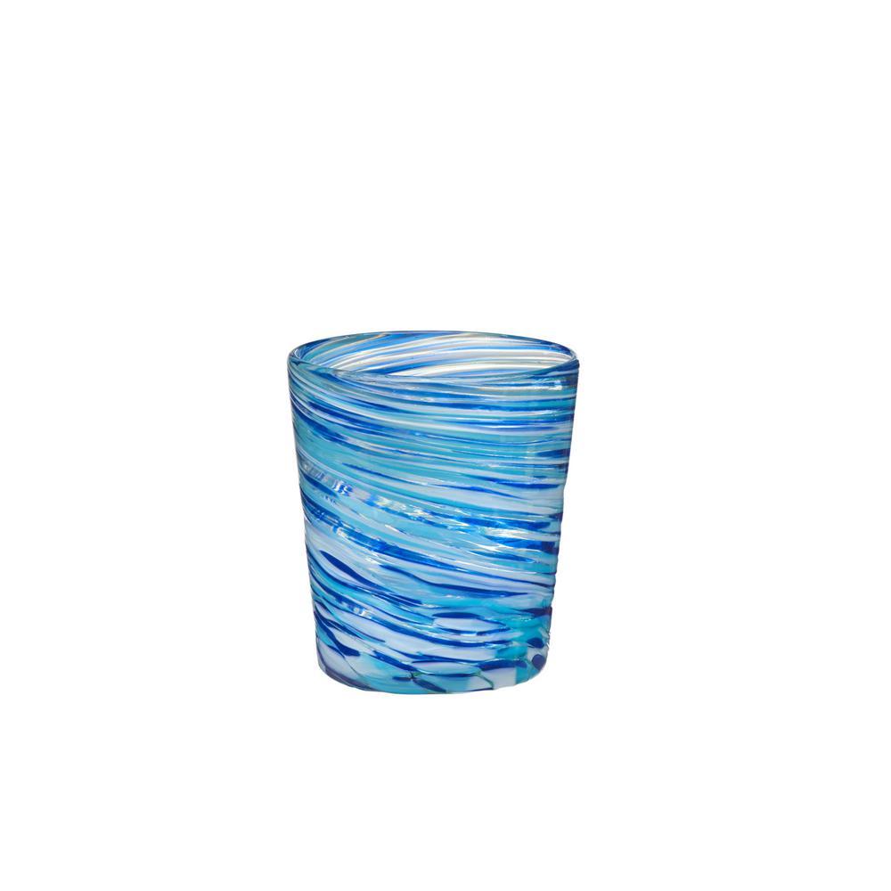 Malibu 12 oz. 4-Piece Blue-White Glass Double Old-Fashioned Drinkware Set