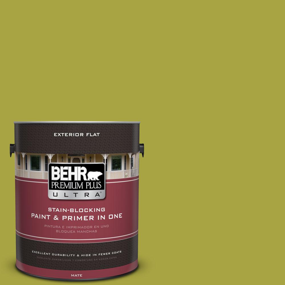 1-gal. #400B-7 Lemon Grass Flat Exterior Paint