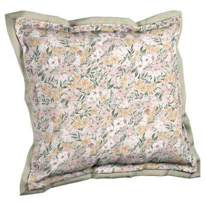 Artisans 21 in. x 23 in. Opus Floral Double Flange Outdoor Throw Pillow Back