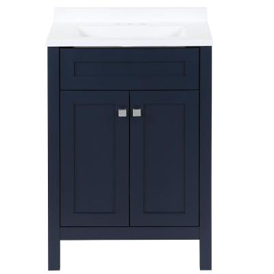 Maywell 24.5 in. W x 18.75 in. D x 37.7 in. H Vanity in Blue with Cultured Marble Vanity Top in White with White Sink