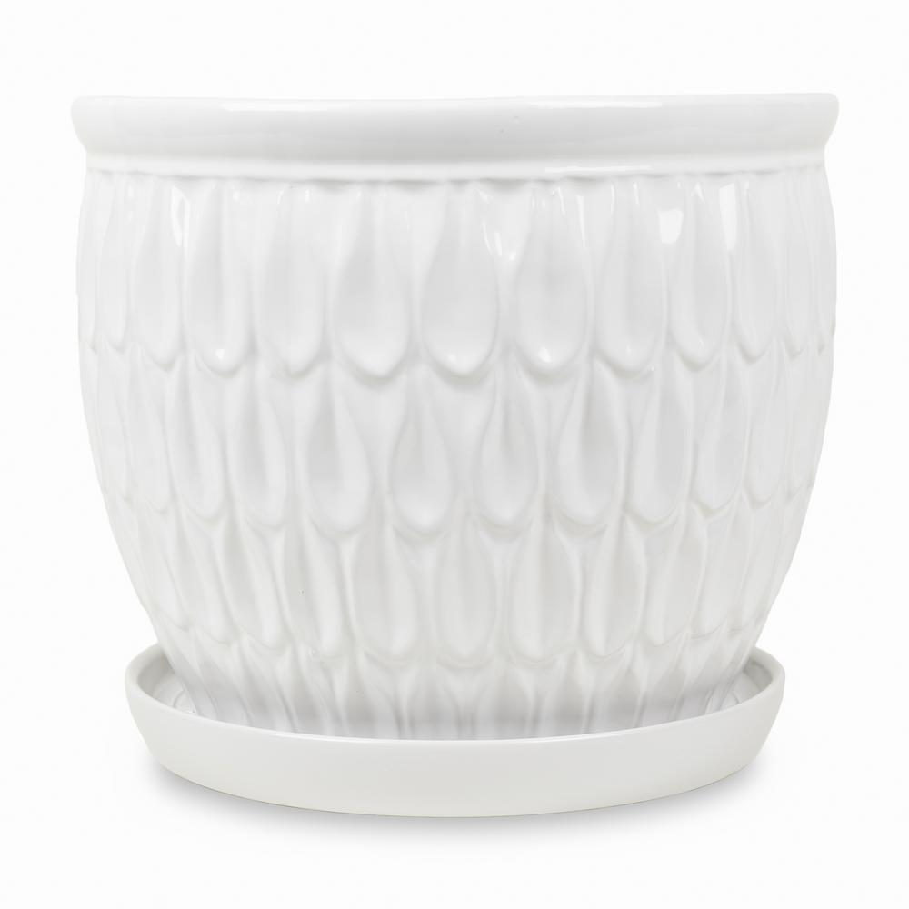 Paddock Home Garden 12 25 In White Ceramic Raindrop Planter With Saucer 521523 The Home Depot