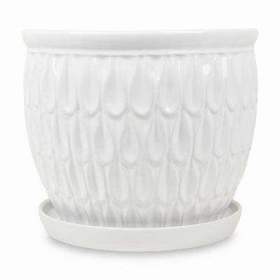 12.25 in. Raindrop White Ceramic Planter with Saucer