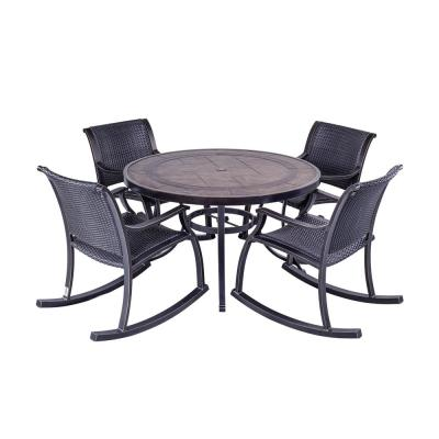 Bronze 5-Piece Outdoor Patio Dining Set with 4 Wicker Rocking Arm Chair and 48 in. Round Crafttech Top Aluminum Table