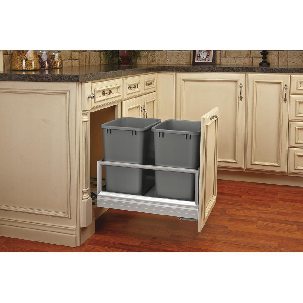 Rev-A-Shelf Double 35 Qt. Pull-Out Brushed Aluminum and Silver Waste Container with Rev-A-Motion