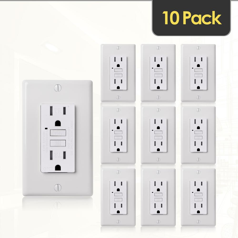 Faith 15-Amp 125-Volt GFCI Duplex Tamper Resistant Outlet, GFI Receptacle with Indicator Light and Wall Plate, White (10-Pack)