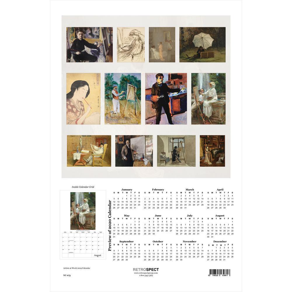 19 in. H x 12.5 in. W Artists at Work - 2019 Calendar