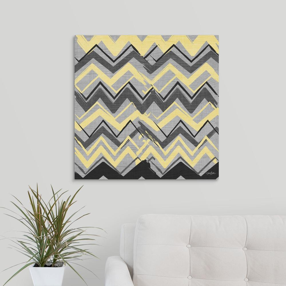Yellow gray stripes ii by diane stimson canvas wall art
