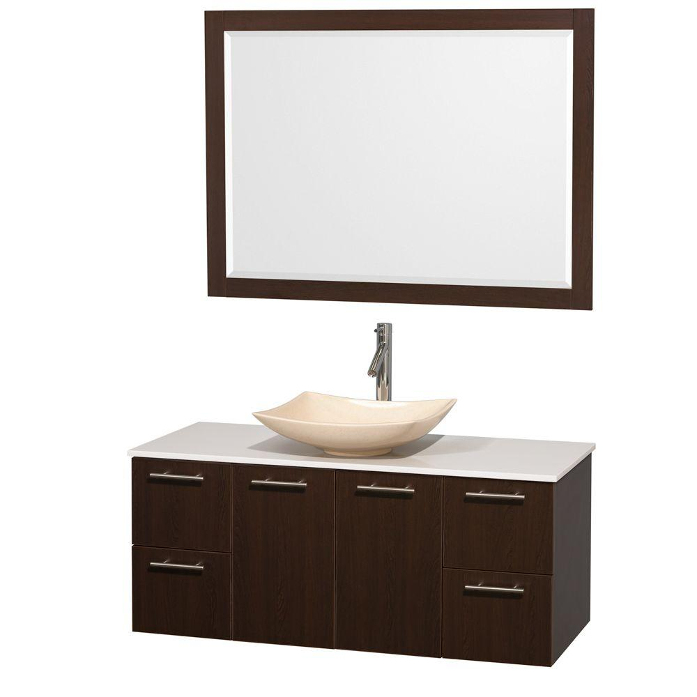 Amare 48 in. Vanity in Espresso with Solid-Surface Vanity Top in