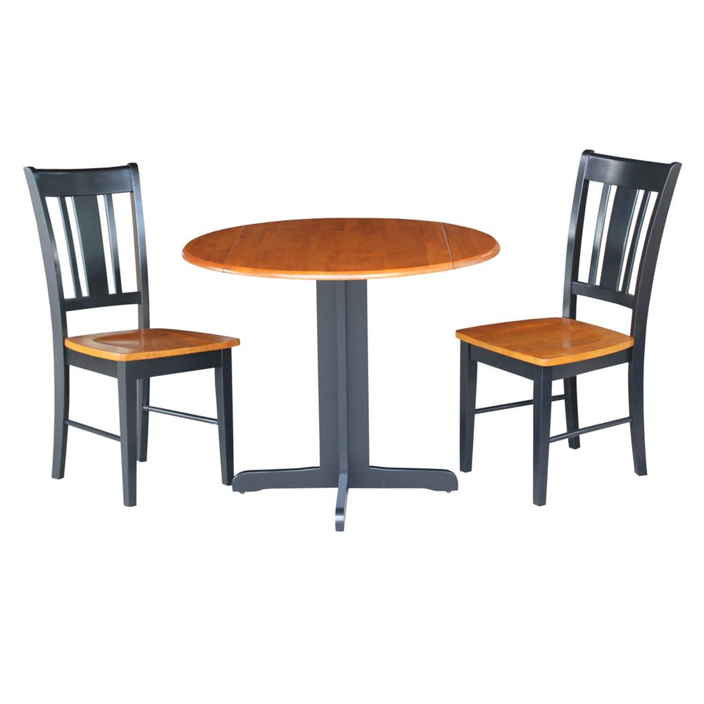 Null 3 Piece Black And Cherry Dining Set