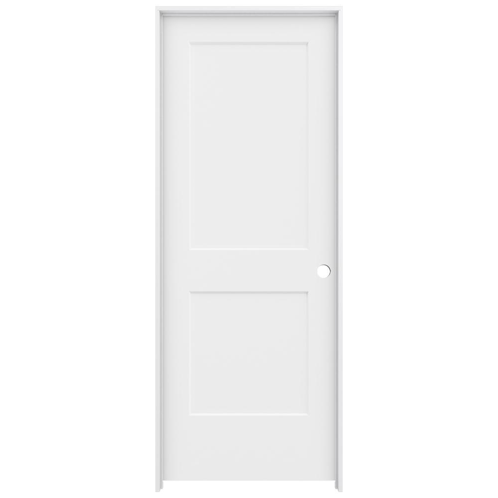 30 in. x 80 in. Monroe Primed Left-Hand Smooth Solid Core Molded Composite MDF Single Prehung Interior Door