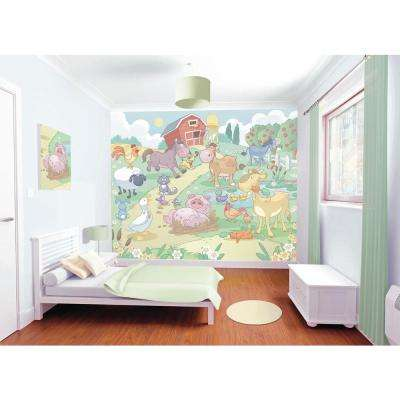 120 in. H x 96 in. W Baby Fun on the Farm Wall Mural