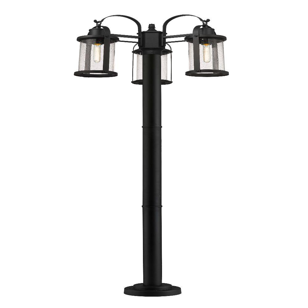 3-Light Black Outdoor Post Mounted Fixture with Clear Seedy Glass Shade
