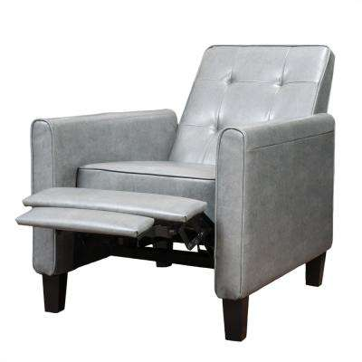 Jameson Tufted Back Dark Gray Bonded Leather Recliner