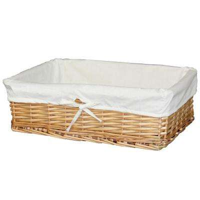 18 in. x 12.75 in. x 5.5 in. Large Willow Basket with Fabric Lining