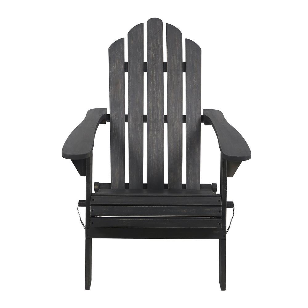 Hollywood Dark Gray Folding Wood Adirondack Chair
