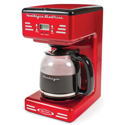12-Cup Red Coffee Maker with Keep Warm Function