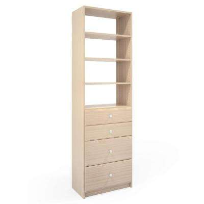 14 in. D x 24 in. W x 84 in. H Chai Latte Wood Drawer and Shelving Closet System