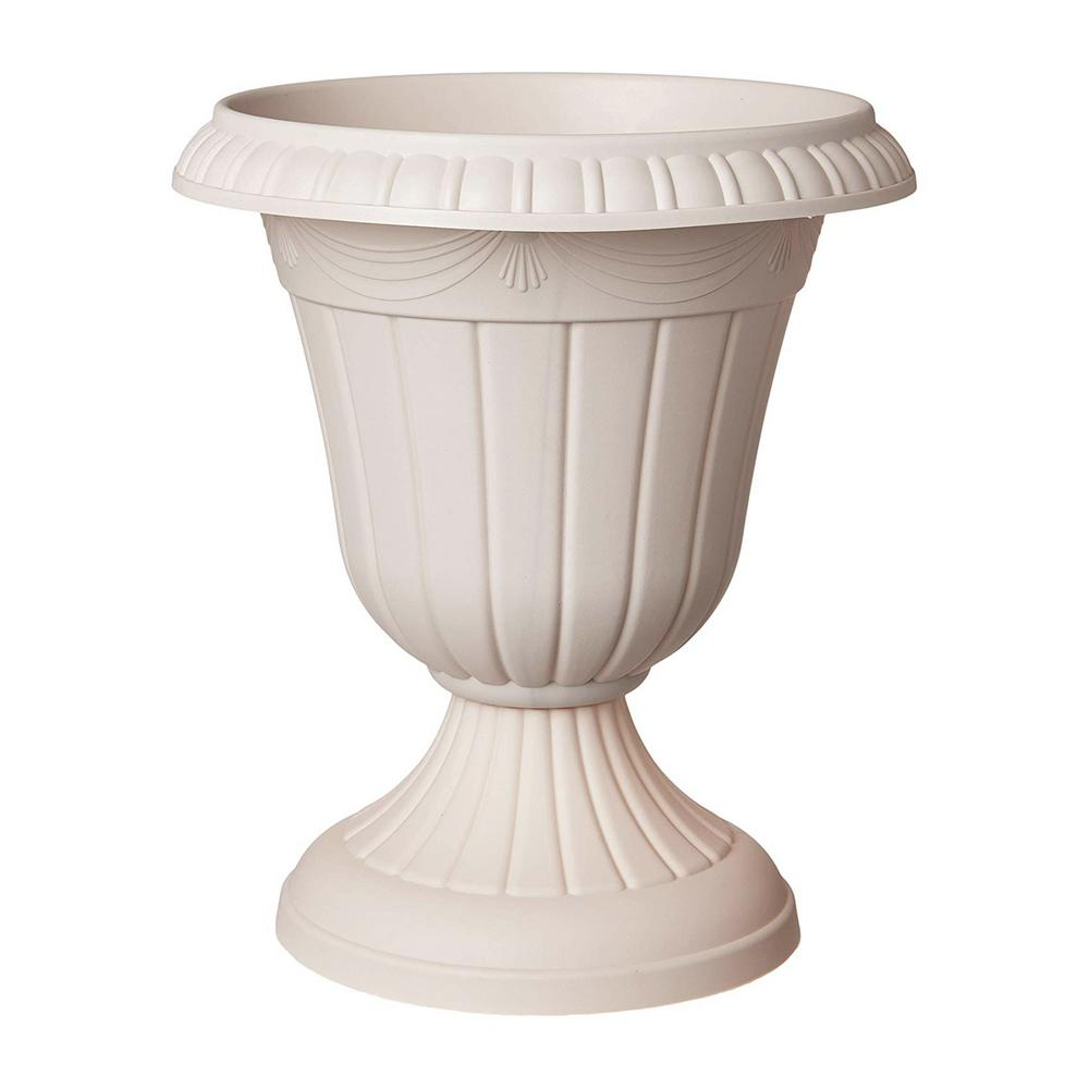 Arcadia Garden Products Traditional 16 in. x 18 in. Taupe Plastic Urn