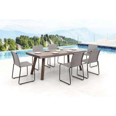 Beckett Armless Metal Outdoor Dining Chair in Light Gray (4-Pack)