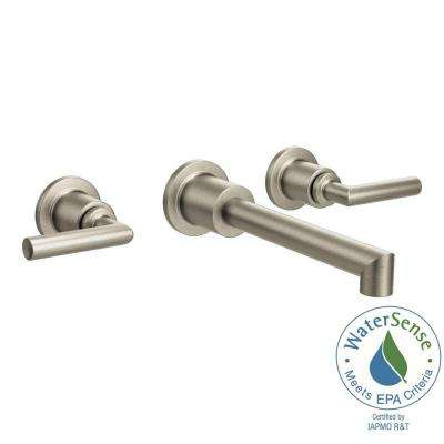 Arris Wall Mount 2-Handle Low-Arc Bathroom Faucet Trim Kit in Brushed Nickel (Valve Not Included)