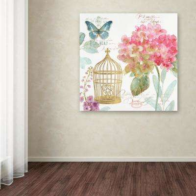 "18 in. x 18 in. ""Rainbow Seeds Floral Birdcage II"" by Lisa Audit Printed Canvas Wall Art"