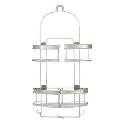 Premium Expandable Shower Caddy for Hand Held Shower or Tall Bottles in Stainless Steel