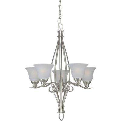 5-Light Brushed Nickel Chandelier with White Linen Glass
