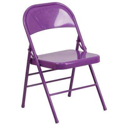 Purple Metal Stackable Folding Chair