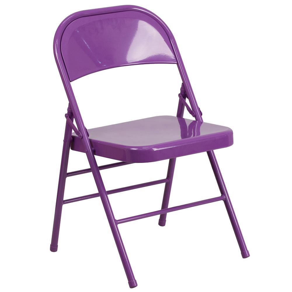 Flash Furniture Purple Metal Stackable Folding Chair