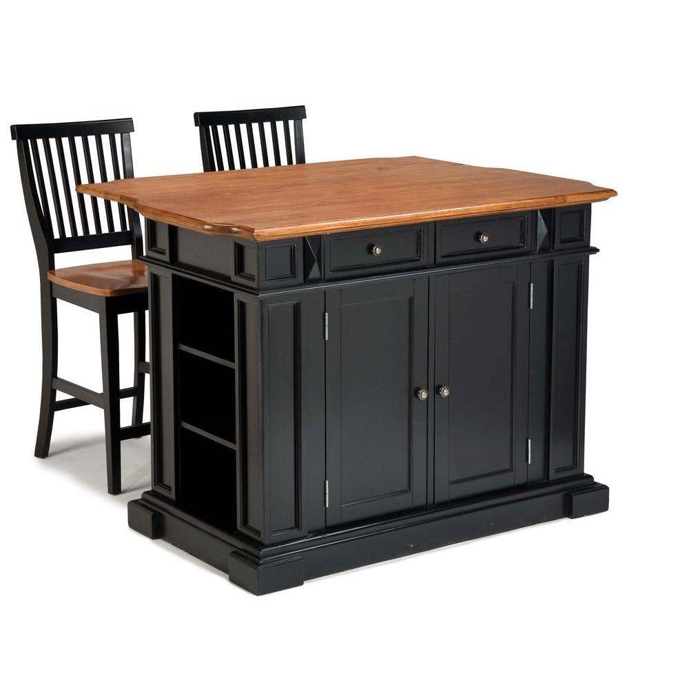 home styles americana black kitchen island with seating - Kitchen Island Home Depot