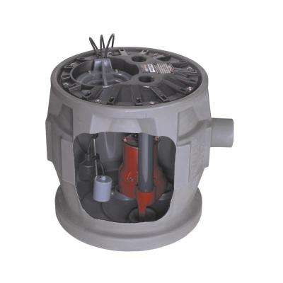 Pro380 Series 4/10 HP Submersible Pre-Assembled Simplex Sewage System with LE41 Pump, 24 in. x 24 in. Polyethylene Basin