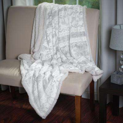 Snow Flakes Fleece Sherpa Throw