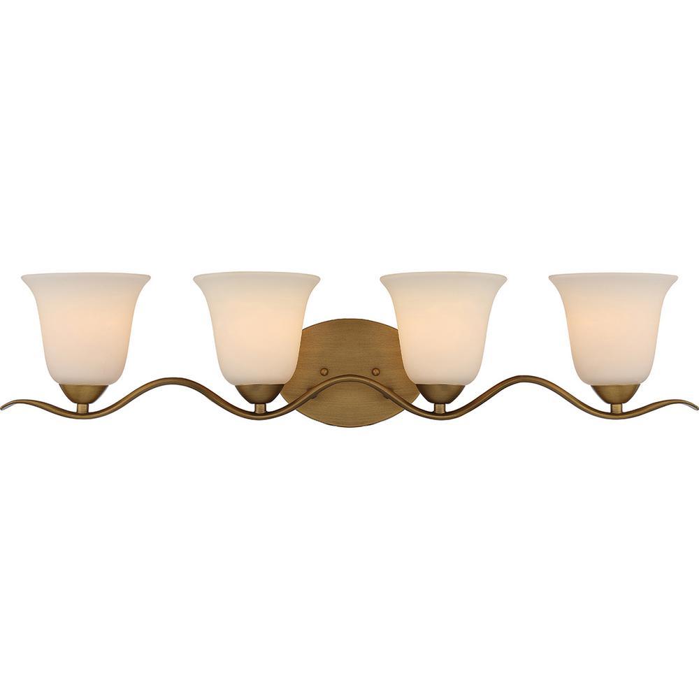 4-Light Natural Brass Bath Light