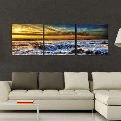 "16 in. x 48 in. ""Sky and Beach"" Printed Wall Art"