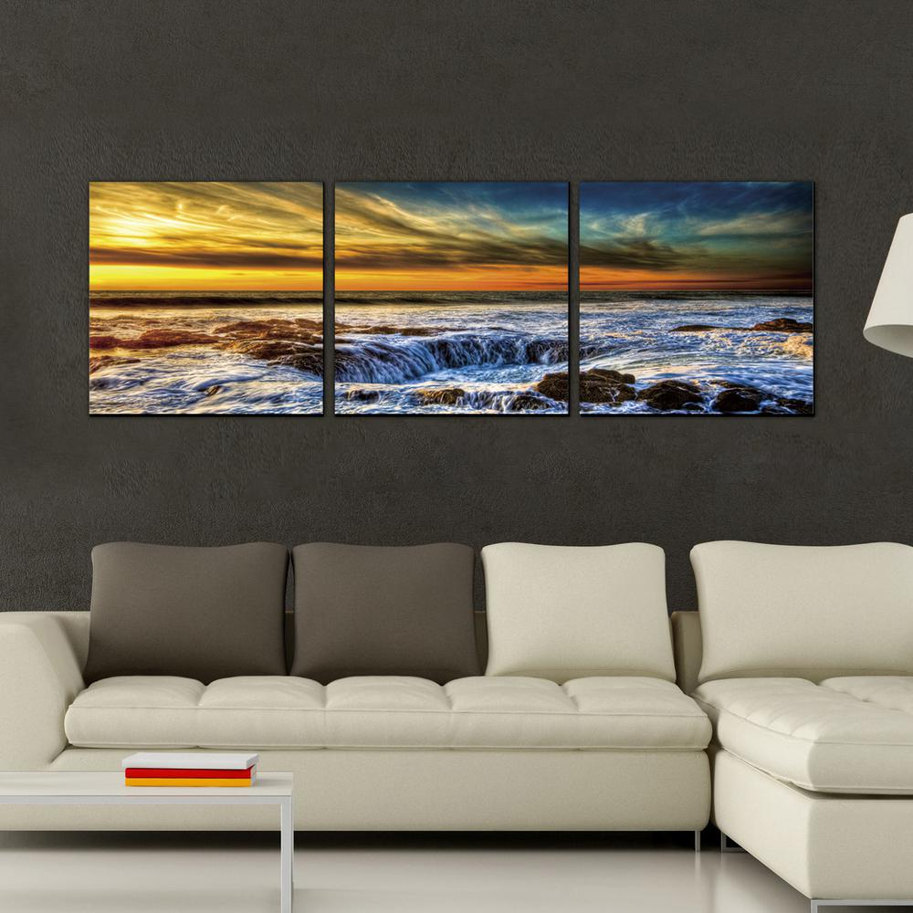 Furinno 16 In X 48 In Quot Sky And Beach Quot Printed Wall Art