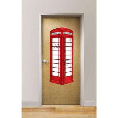 39 in. x 26 in. London Phone Booth Giant Dry Erase Decal