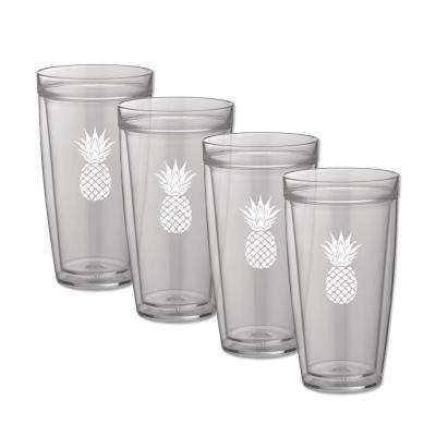 Kasualware Pineapple 22 oz. Doublewall Tall Tumbler (Set of 4)