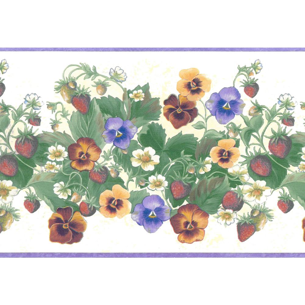 Country Blue and Yellow Pansies on White with Blue Trim WALLPAPER BORDER