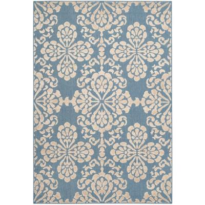 Cottage Indoor/Outdoor Light Blue/Beige 4 ft. x 6 ft. Area Rug