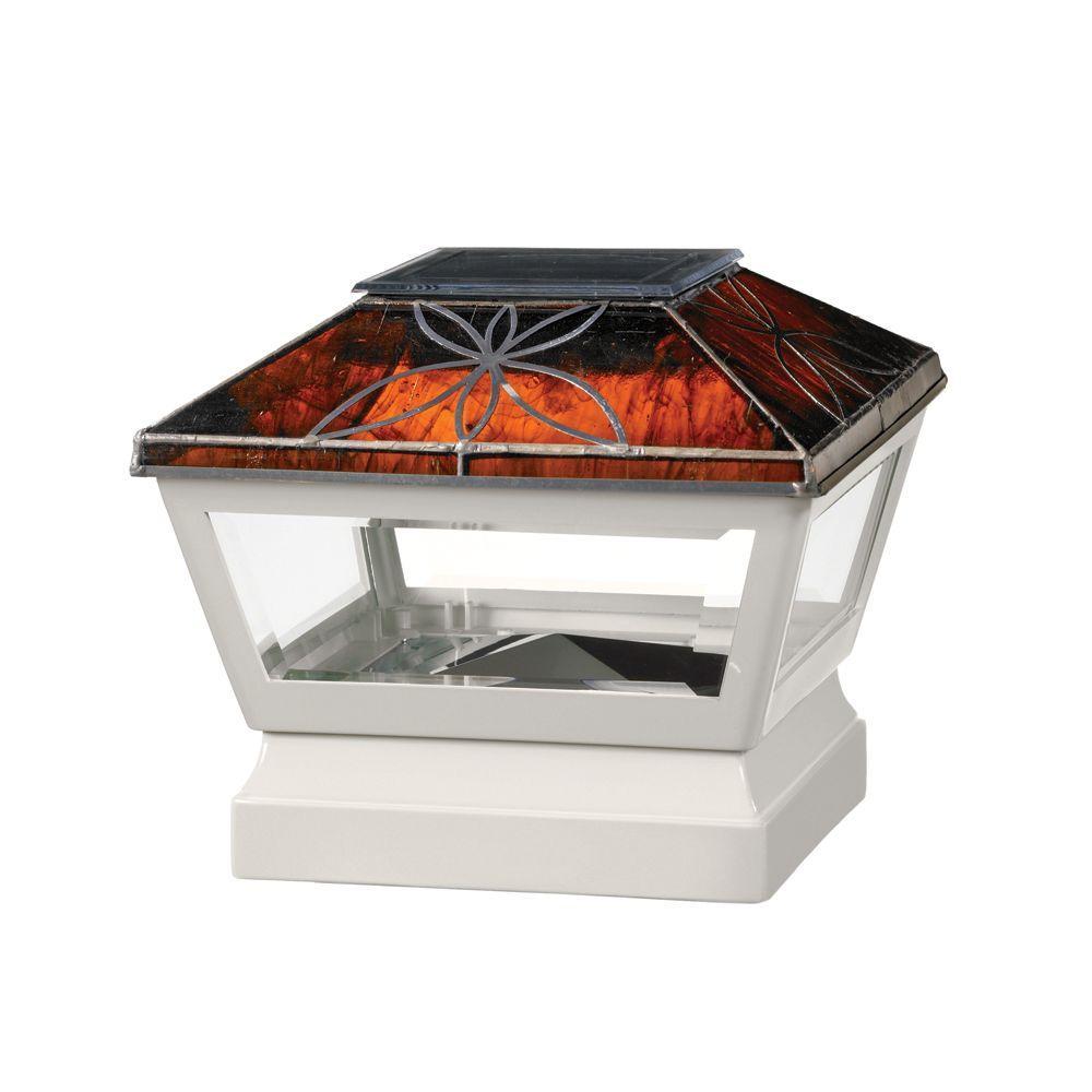 5 in. x 5 in. Vinyl Solar Light Chestnut Top Pyramid